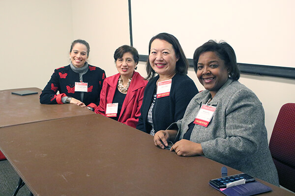 Former HEALTH Research Institute mentee Dr. Daphne Hernandez (far left) and representatives from local health coalitions participating on the panel discussion 'Collaborative work across communities and how to create the most meaningful impact through coalitions.'